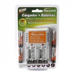 CARGADOR MACROTEL RAPID AA/AAA/BATERIA +4 PILAS AA 2300 MAH