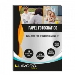 PAPEL FOTOGRAFICO GLOSSY A4 180 GR 20H LAVORO
