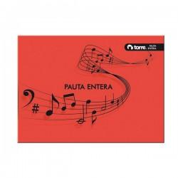 CUADERNO COSIDO MUSICA PAUTA ENTERA TORRE 10 HJS.