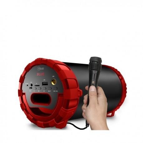 Parlante karaoke Microlab con micrófono color rojo party